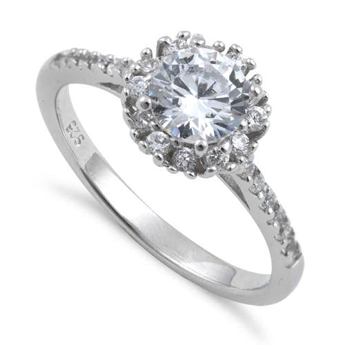 Sterling Silver Clear Halo Round Cut Engagement CZ Ring