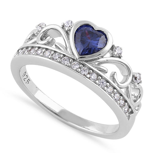 Sterling Silver Heart Crown Tanzanite CZ Ring