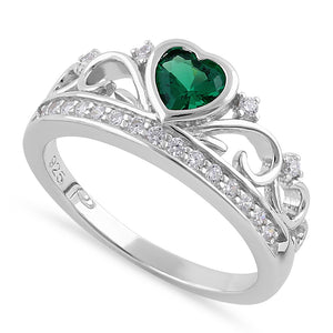 Sterling Silver Heart Crown Emerald CZ Ring