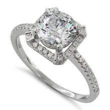Load image into Gallery viewer, Sterling Silver Clear Round Halo Pave CZ Ring