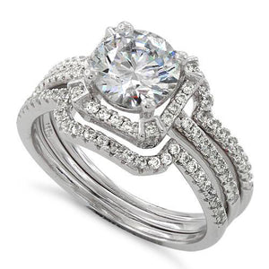 Sterling Silver Engagement Round Halo Pave CZ Set Ring