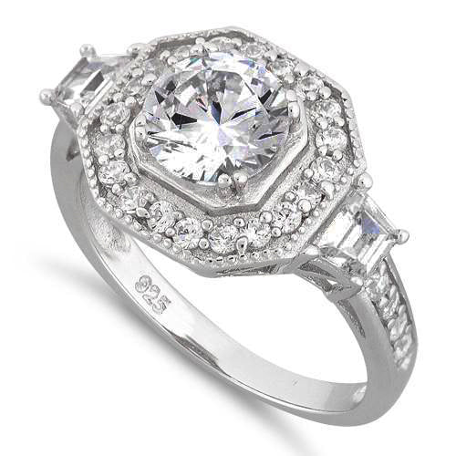 Sterling Silver Halo Octagon Round CZ Ring