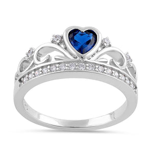 Sterling Silver Heart Crown Blue Sapphire CZ Ring