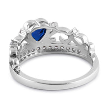 Load image into Gallery viewer, Sterling Silver Heart Crown Blue Sapphire CZ Ring