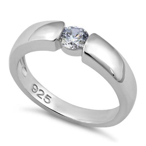 Sterling Silver Channel Bezel Clear CZ Ring