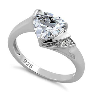 Sterling Silver Elegant Trillion Cut Clear CZ Ring