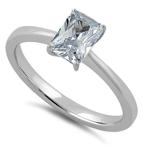 Sterling Silver Clear Radiant Cut CZ Ring