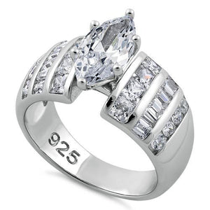 Sterling Silver Diverse Marquise CZ Ring