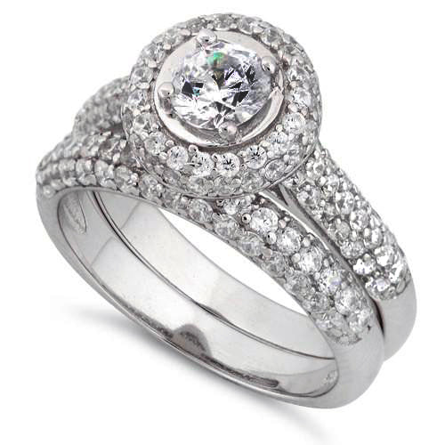 Sterling Silver Halo Round CZ Engagement Set Ring