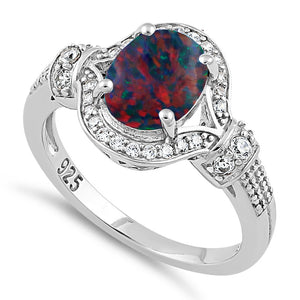 Sterling Silver Elegant Black Lab Opal Oval CZ Ring