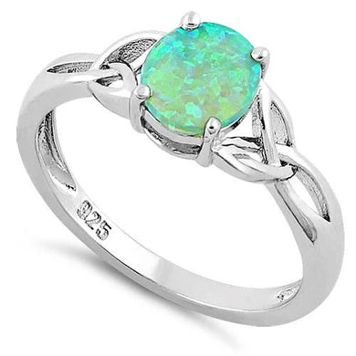 Sterling Silver Center Stone Charmed Green Lab Opal Ring