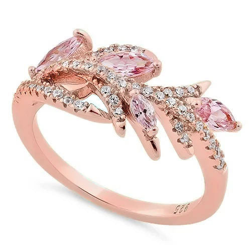 Sterling Silver Rose Gold Plated Vine Leaves Pink CZ Ring