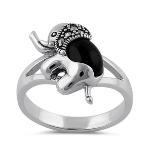 Sterling Silver Black Onyx Elephant Marcasite Ring