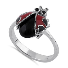 Load image into Gallery viewer, Sterling Silver Black Onyx and Enamel Ladybug Marcasite Ring