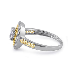 Steling Silver Two-Tone Heart Engagement Ring