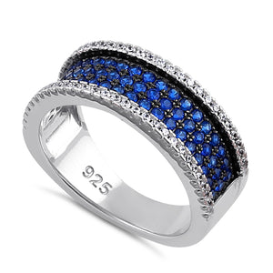 Sterling Silver Blue Spinel and Clear CZ Pave Ring
