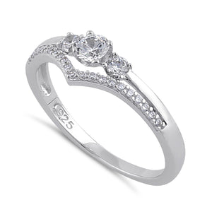 Sterling Silver Clear CZ Trendy Engagement Ring
