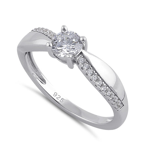 Sterling Silver Clear Round CZ Elegant Engagement Ring
