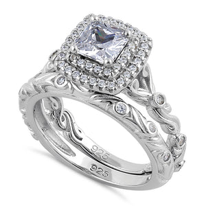 Sterling Silver Clear CZ Vintage Engagement Ring Set