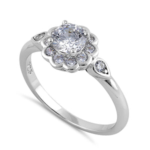 Sterling Silver Clear CZ Flower Engagement Ring