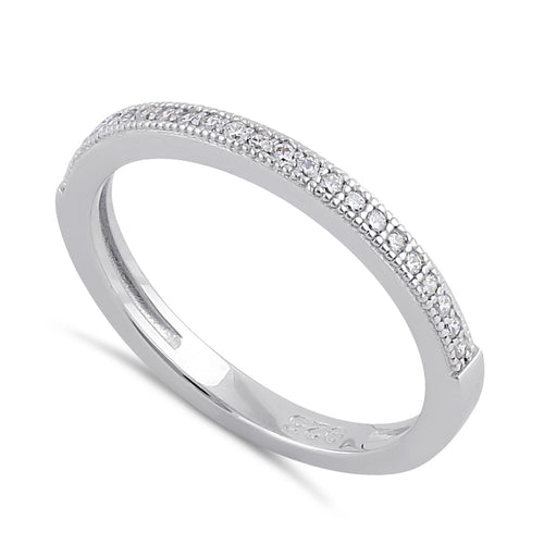 Sterling Silver Thin Clear CZ Band Ring
