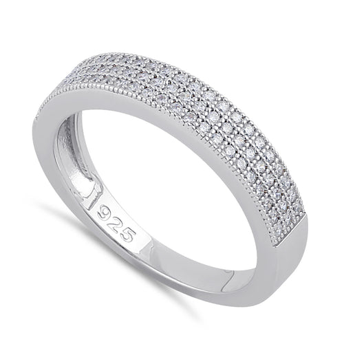 Sterling Silver Half Eternity Clear CZ Band Ring