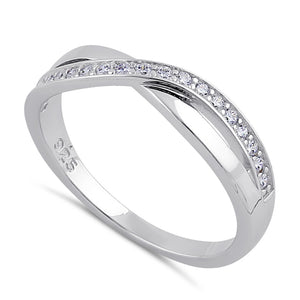 Sterling Silver Clear CZ Infinity Twist Ring