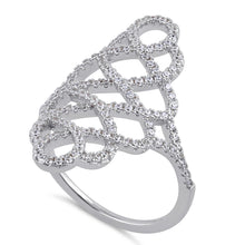 Load image into Gallery viewer, Sterling Silver Figure 8 Extravagant Clear CZ Ring