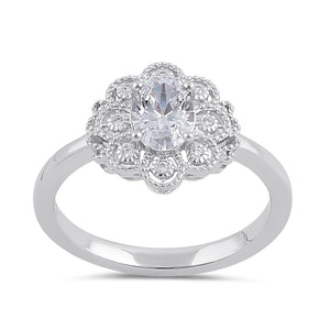 Sterling Silver Clear CZ Vintage Engagement Ring