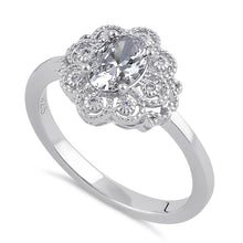 Load image into Gallery viewer, Sterling Silver Clear CZ Vintage Engagement Ring