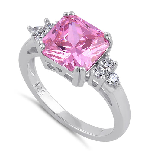 Sterling Silver Elegant Pink CZ Center Ring