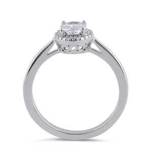 Sterling Silver Clear CZ Oval Halo Ring