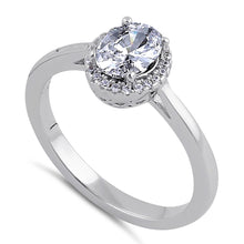 Load image into Gallery viewer, Sterling Silver Clear CZ Oval Halo Ring