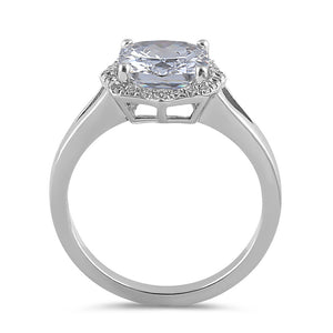 Sterling Silver 8mm Clear Cushion CZ Engagement Ring