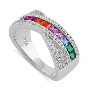 Sterling Silver Rainbow CZ Twist Ring