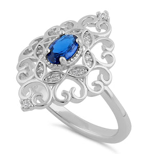 Sterling Silver Elegant Blue CZ Marquise Design Ring