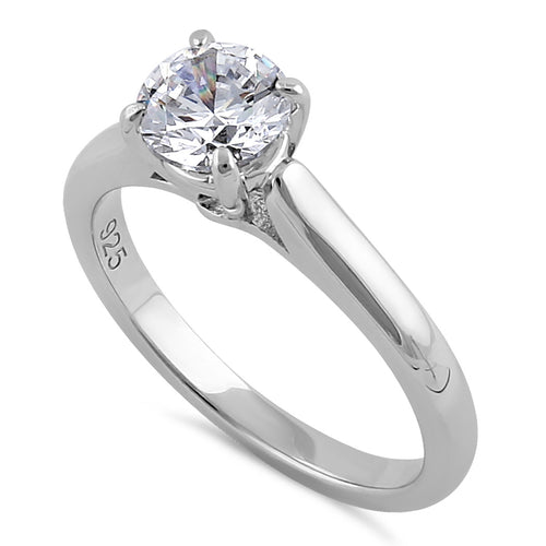 Sterling Silver 6.5mm Clear CZ Catherdral Setting Ring