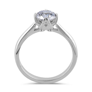 Sterling Silver 6.5mm Clear CZ Four Crossed Prong Setting Ring