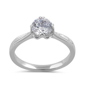 Sterling Silver 6.5mm Clear CZ Six Crossed Prong Setting Ring