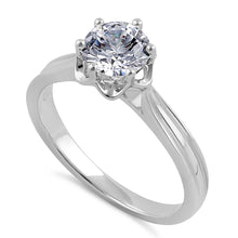 Load image into Gallery viewer, Sterling Silver 6.5mm Clear CZ Flower Setting Ring