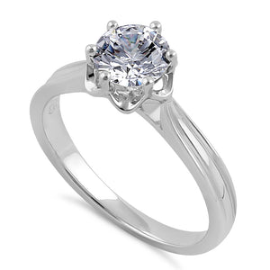 Sterling Silver 6.5mm Clear CZ Flower Setting Ring