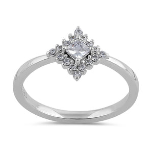 Sterling Silver 3mm Clear CZ Princess Halo Engagement Ring