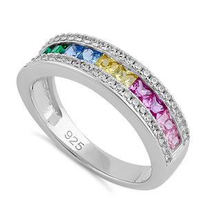 Sterling Silver Rainbow CZ Band Ring