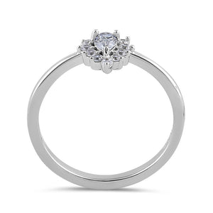 Sterling Silver Clear CZ Dainty Pear Halo RIng