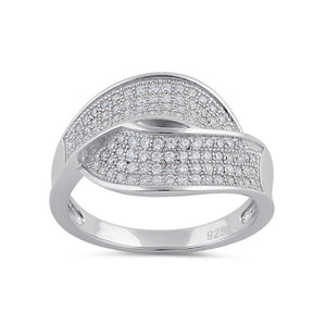 Sterling Silver Clear CZ Thick Twist Ring