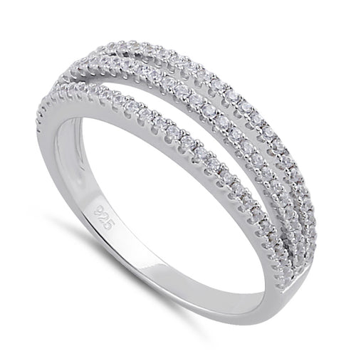 Sterling Silver Clear CZ Triple Layer Ring