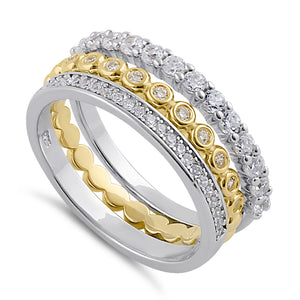 Sterling Silver Triple Stack with Single Yellow Plated Clear CZ Rings