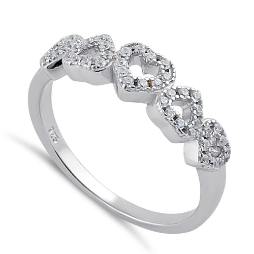 Sterling Silver Clear CZ Row of Hearts Ring