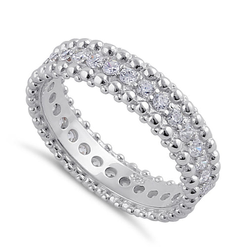 Sterling Silver Clear CZ Beaded Band Ring