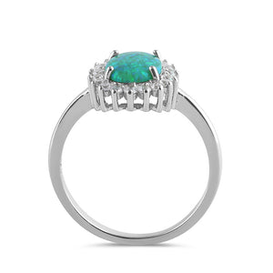 Sterling Silver Oval Green Lab Opal CZ Ring
